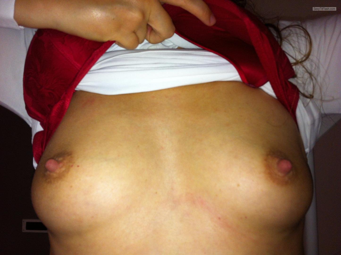 Tit Flash: Wife's Medium Tits (Selfie) - Lien from Netherlands